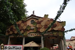 A closer look at the signage and decorations above the booth