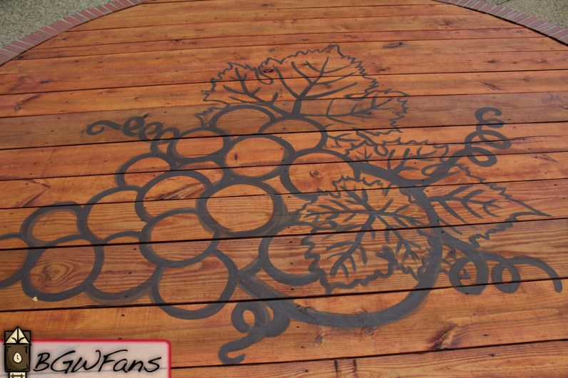 And lastly, a shot of the grape design on the decking of the new stage. Very classy.