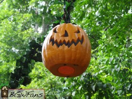 A closer look at one of the floating pumpkins