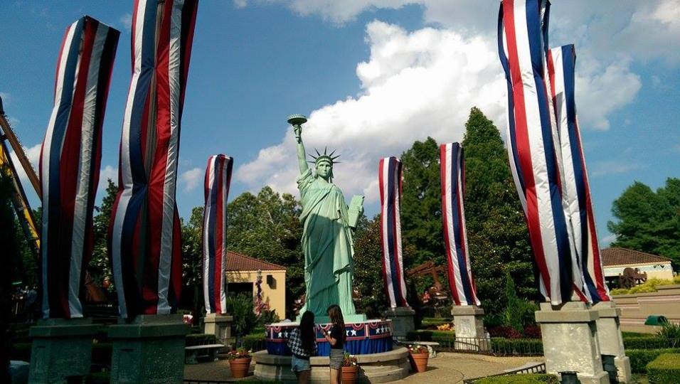 The large styrofoam replica of the Statue of Liberty