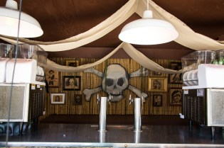 A look at the center back wall of The Pirate Bar