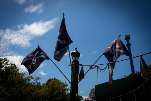 Some neat pirate flags along the bridge