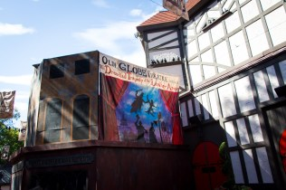 Oddly enough, the back of the hotel still has a banner for a show in The Globe Theater. Seems like a missed opportunity to advertise Monster Stomp