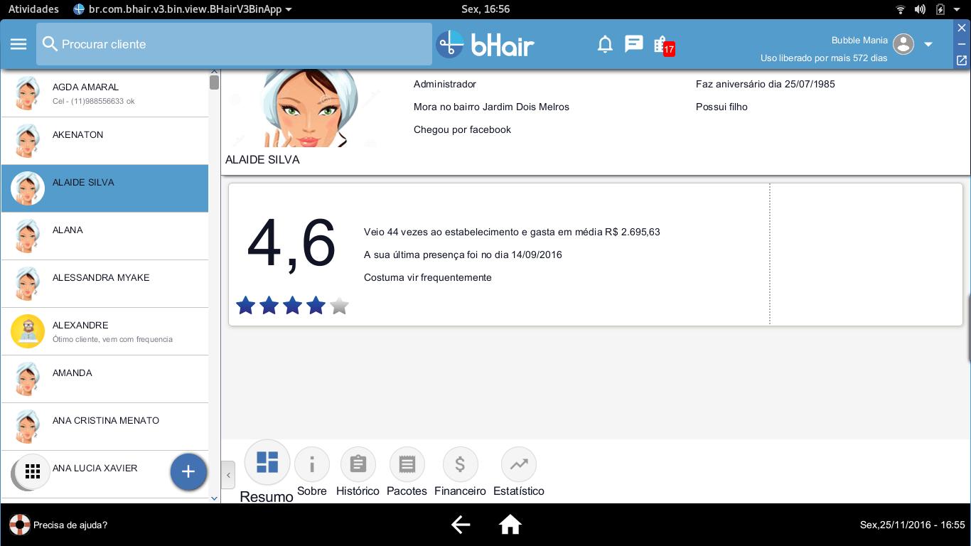 Dados de perfil do cliente, para um atendimento personalizado. Somente com o bHair App