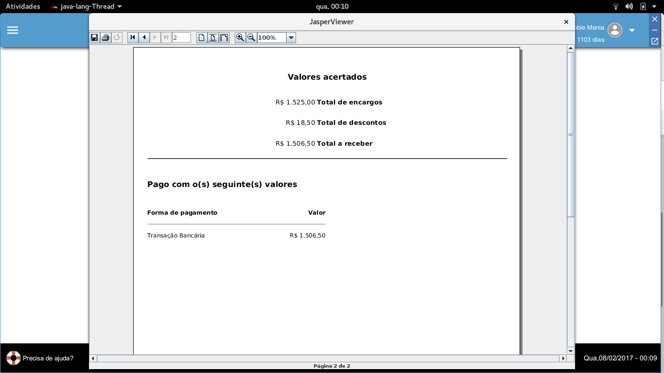 Impressão detalhada de valores pagos