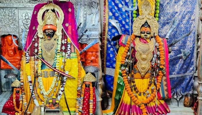 महानवमी : माँ महामाया और देवी सम्लेश्वरी का वीर मुद्रा में श्रृंगार, पूजी गई कन्या
