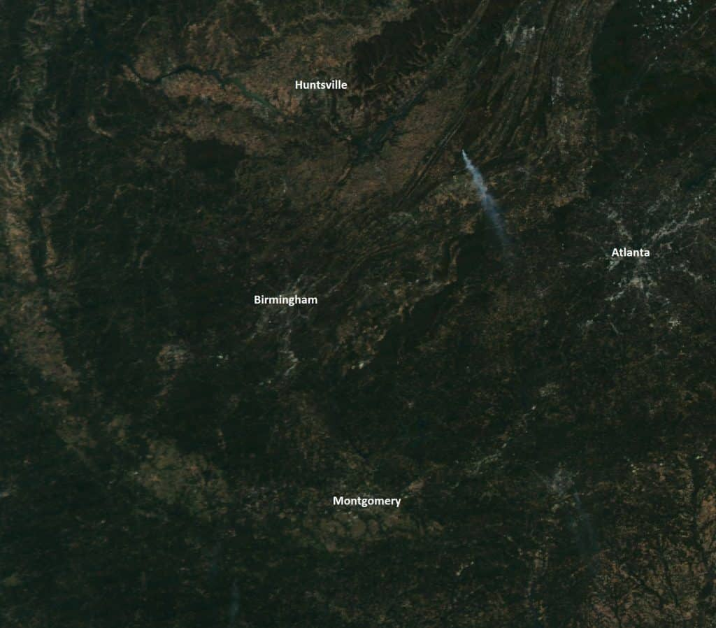Stunning photo: Little River Canyon wildfire from space