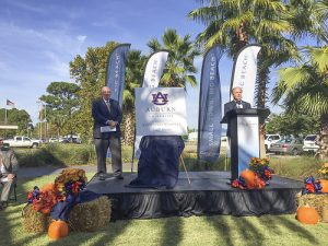 Auburn University Provost Tim Boosinger and City of Gulf Shores Mayor Robert Craft announce plans to build the Auburn University Education Complex in Gulf Shores on Monday, October 24, 2016.