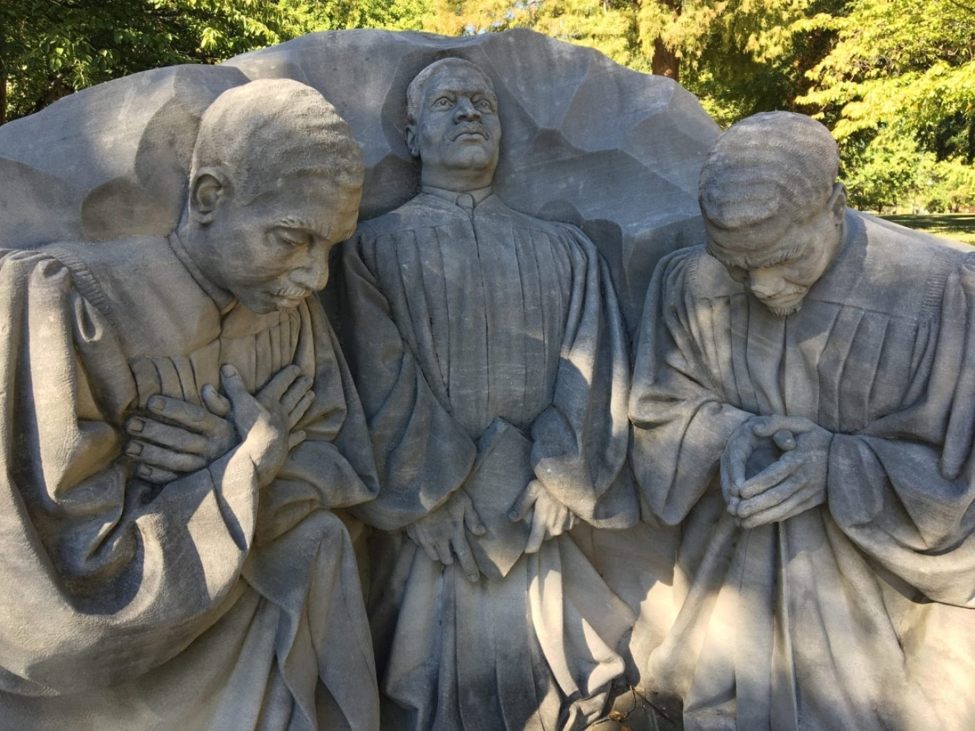 Three pastors monument at Kelly Ingram Park in the Birmingham Civil Rights District