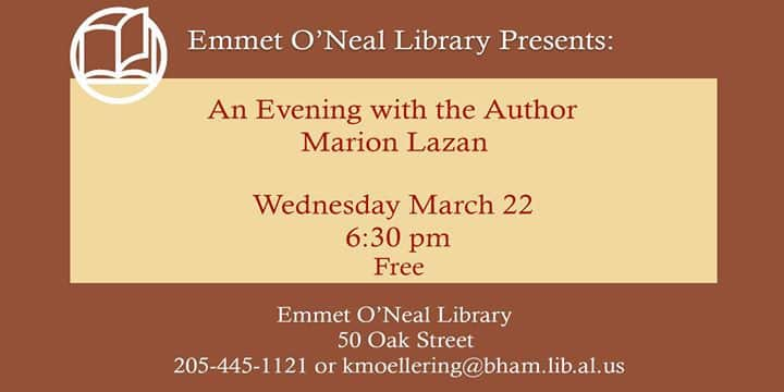 Evening with the Author Marion Lazan Bham Top Ten Things to do in March 16 22