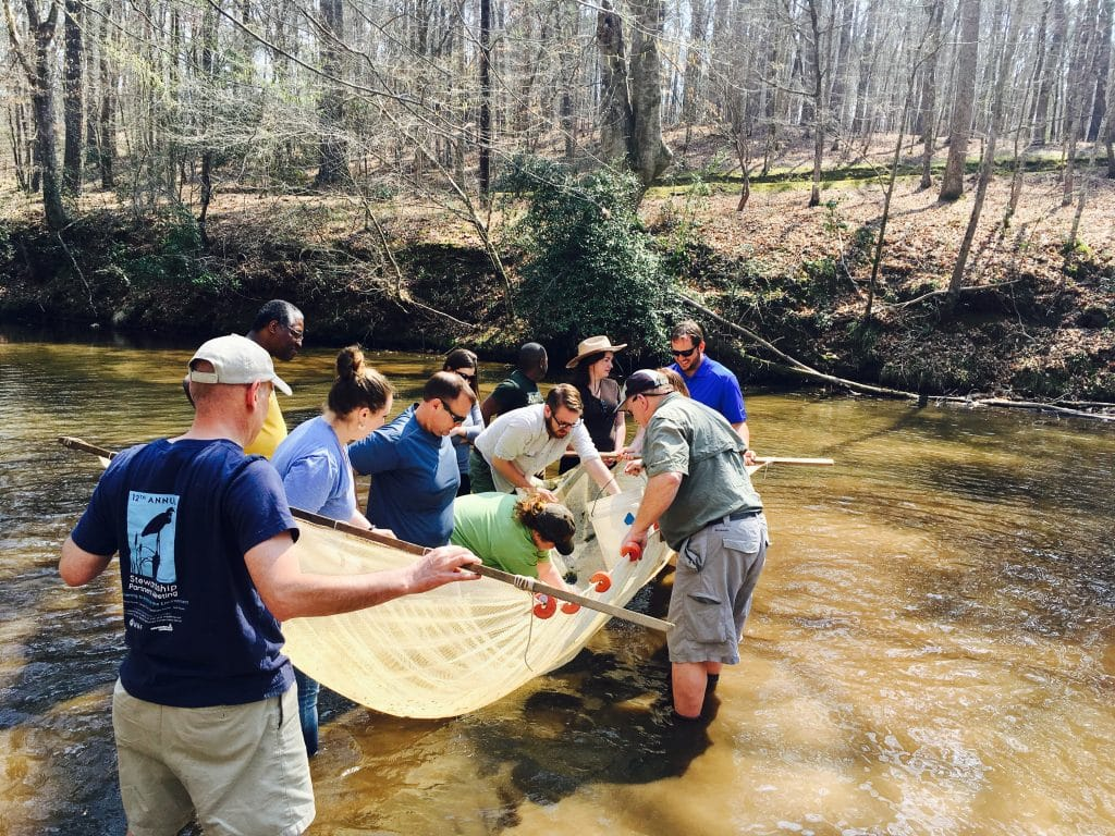 """Sustainability leaders get their feet wet """"chasing"""" fish in the Cahaba watershed"""