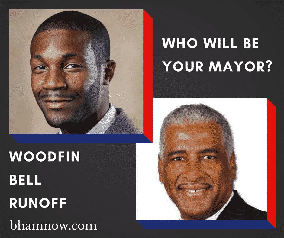 Birmingham, Alabama, mayor, runoff, election, Randall Woodfin, William Bell, graphic