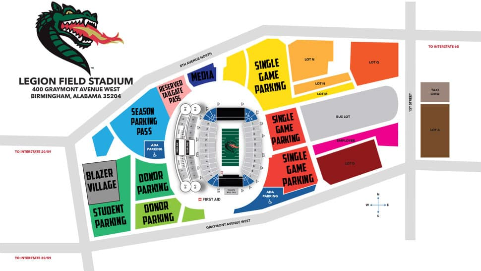 Parking map for the UAB Blazers!
