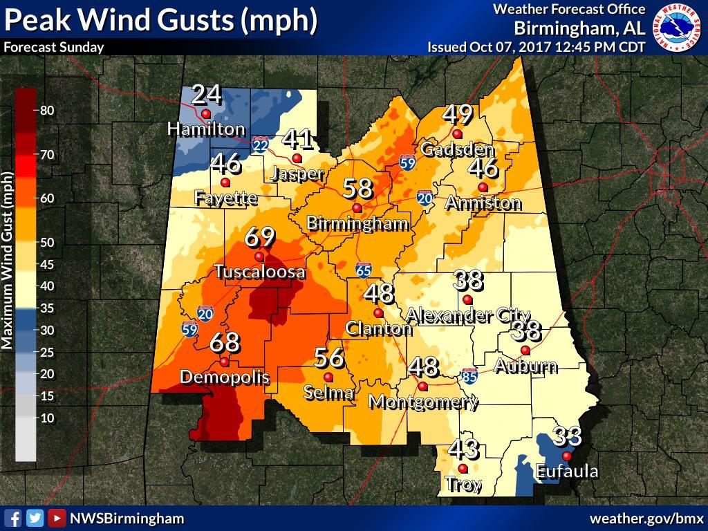 Hurricane Nate – expect windy weather Birmingham