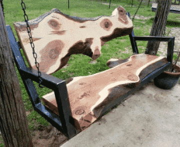 Eco-creative porch swing.