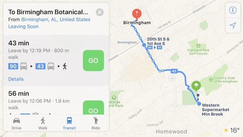 The Apple Maps app adds Birmingham to its transit list