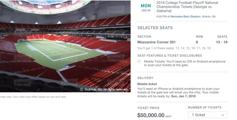 Last minute tickets for National Championship game can still be found if you've got a bucket load of cash