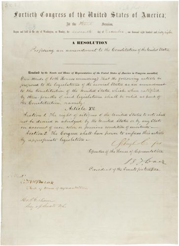 Original handwritten resolution for the 15th amendment to the U.S. Constitution, ratified in 1870. The amendment was the subject of a short documentary by Ramsay High School students in Birmingham, Alabama, which won second-place in C-SPAN's 2018 StudentCam contest.