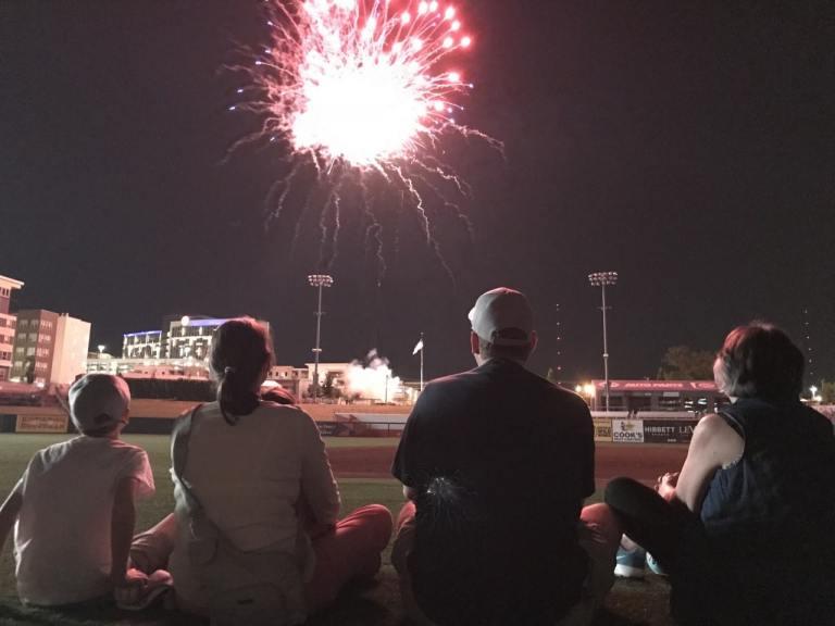 Regions Field, fireworks, Birmingham Barons
