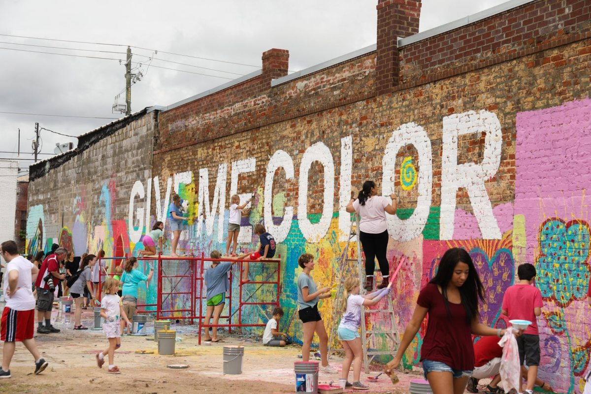 Pure joy! Families and friends reveal the Birmingham Color Wall. (photo gallery)