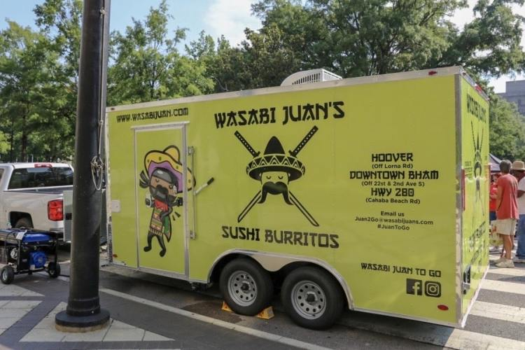 Birmingham, Alabama, Wasabi Juan's food truck, @wasabijuantogo