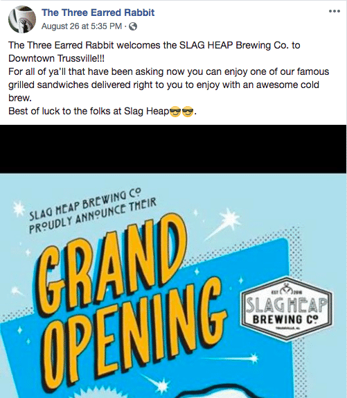 Birmingham, Trussville, The Three Earred Rabbit, Slag Heap Brewing Company, grand opening, breweries