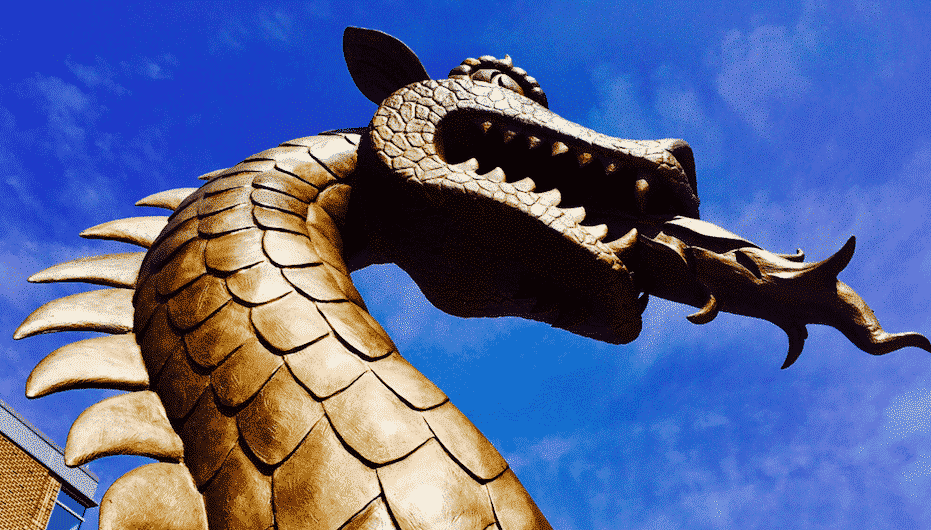 Blaze means business. A  sneak peek of the Blaze statue in front of the new UAB Collat School of Business building