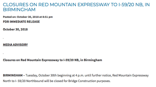 Be prepared  Red Mountain Expressway North to I-59-20 North