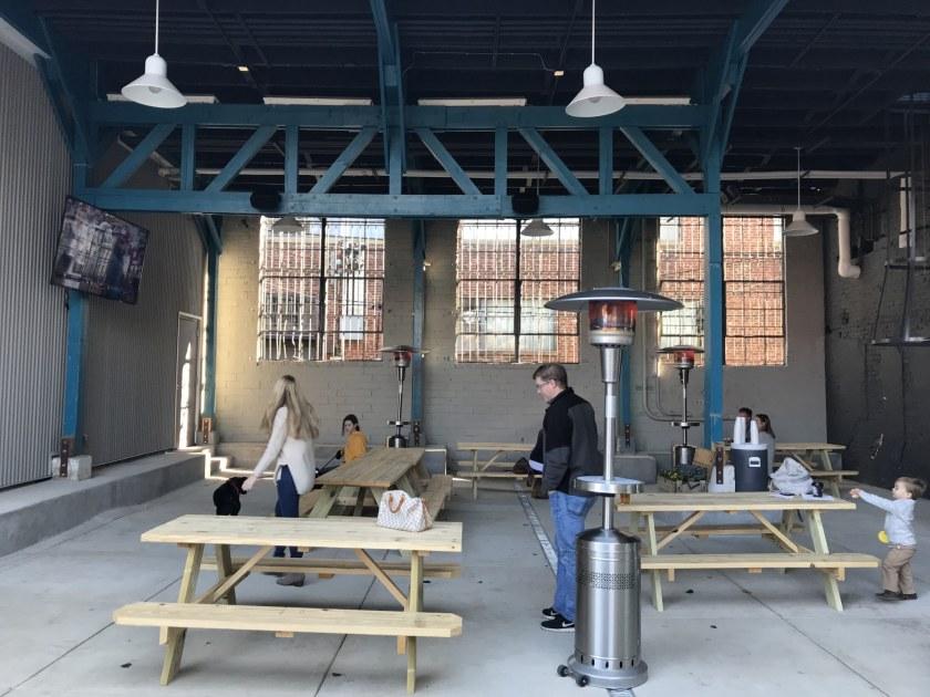 Birmingham, Alabama, Birmingham District Brewing Co., courtyard, where is Wasabi Juan's