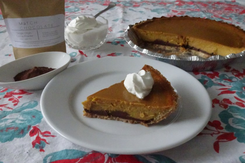 Birmingham, Alabama, pumpkin pie, black bottom pumpkin pie, Match chocolate, Match cocoa powder