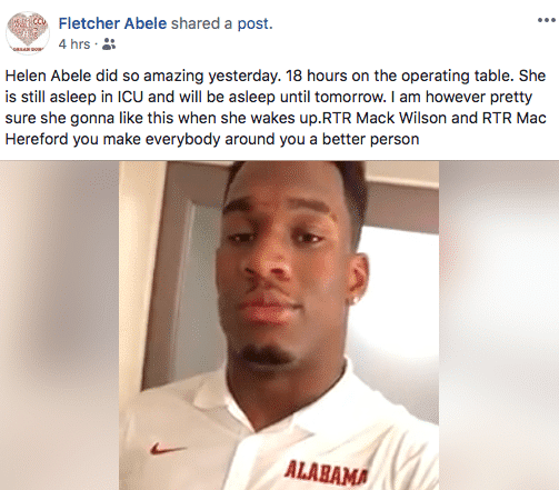 University of Alabama Linebacker Mack Wilson dedicating today's LSU game to local heart transplant recipient