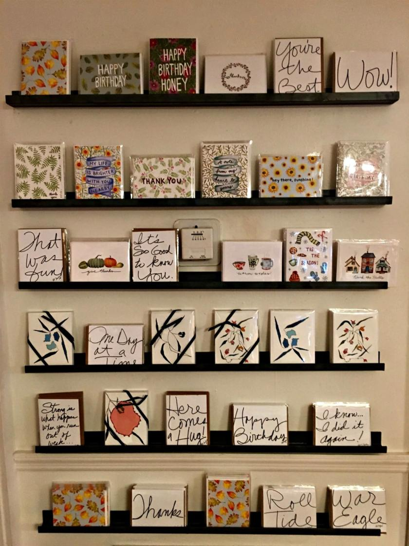Birmingham locally made holiday cards from Catilin Lollar of Everbloom Paper, on display at Shoppe in Forest Park.