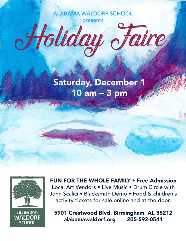 Alabama Waldorf School's Holiday Faire is a great place to check out Birmingham makers goods.