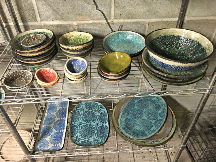Finished work in the studio of Leslie Martin Smith, teacher of the Roebuck Springs potters.