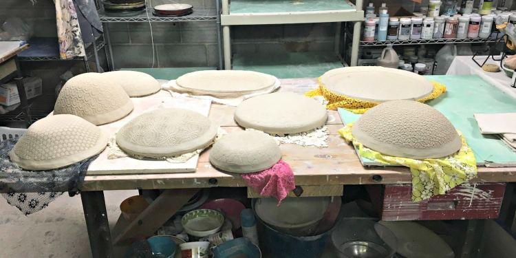 Leslie Martin Smith, teacher of the Roebuck Springs potters, displays works in progress in her studio.