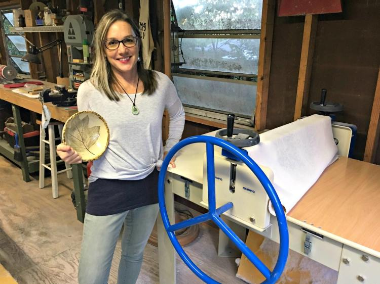 Shelleigh Buckingham, one of the Roebuck Springs potters, by her slab roller.