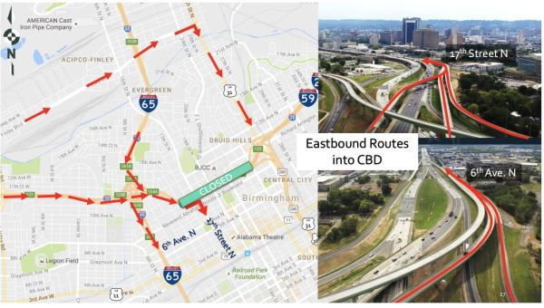Soon 20/59 closes. There are several ways to get into downtown Birmingham from the West.