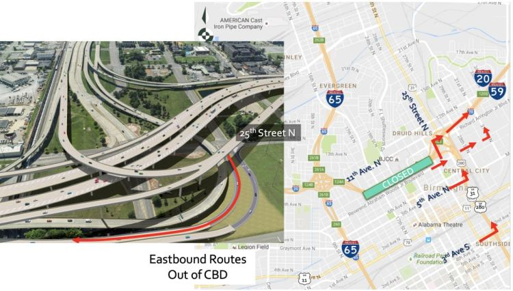 Soon 20/59 closes. There are several ways to leave downtown Birmingham heading East.