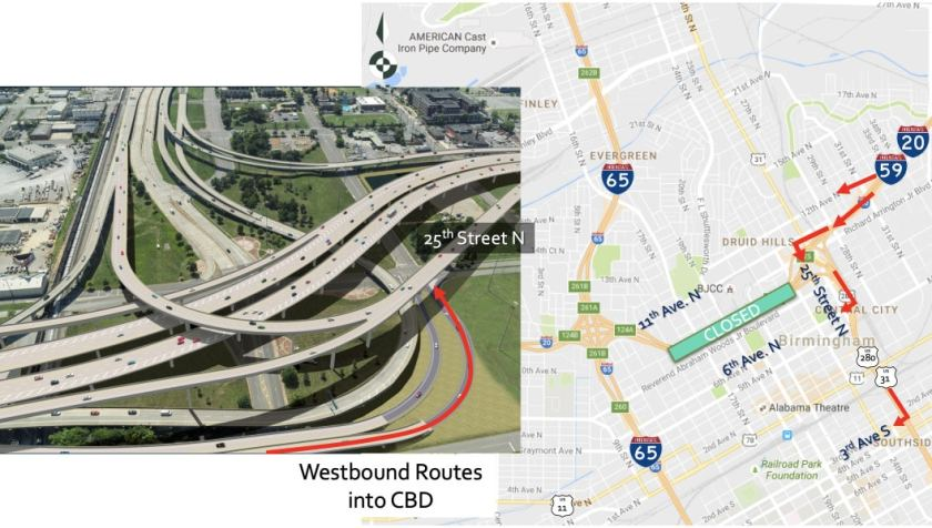 Soon 20/59 closes. There are several ways to get into downtown Birmingham from the East.