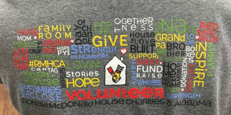 Graphic from the back of a Ronald McDonald House volunteer t-shirt