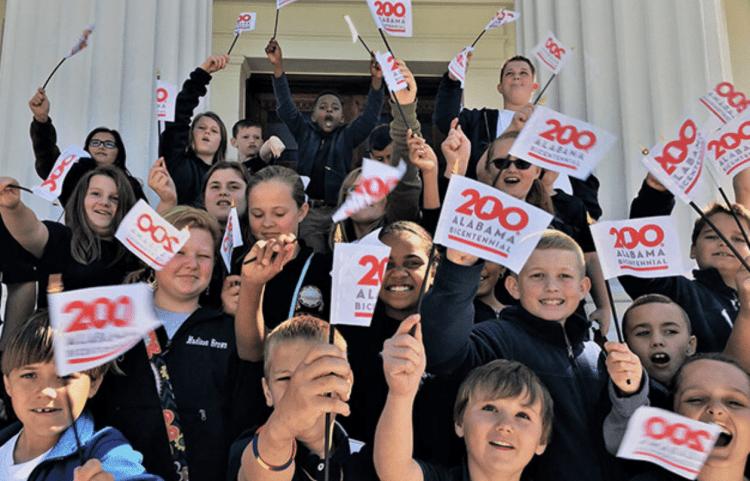 Kids celebrate the bicentennial in Birmingham.