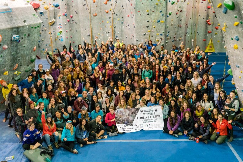 Some women climbers in Birmingham participate in the Flash Foxy Women's Climbing Festival, which is openly welcoming to LGTBQ women.