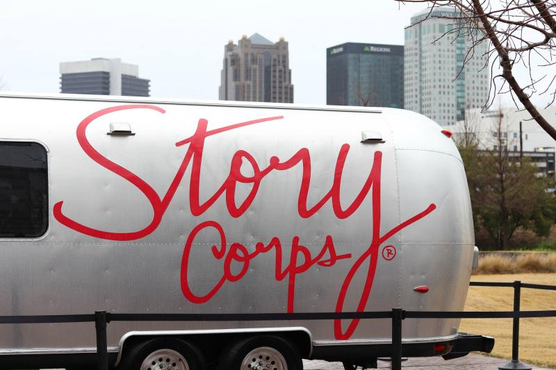 StoryCorps' MobileBooth Airstream at Railroad Park.
