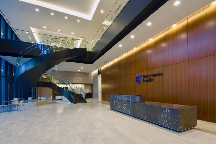 Encompass Health entryway at the Liberty Park headquarters in Birmingham. (Encompass)
