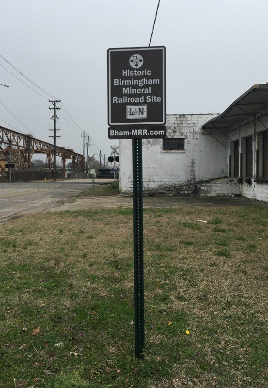 The Historic Birmingham Mineral Railroad used to link all the parts of the city that had steel-making materials. This sign is in North Birmingham.
