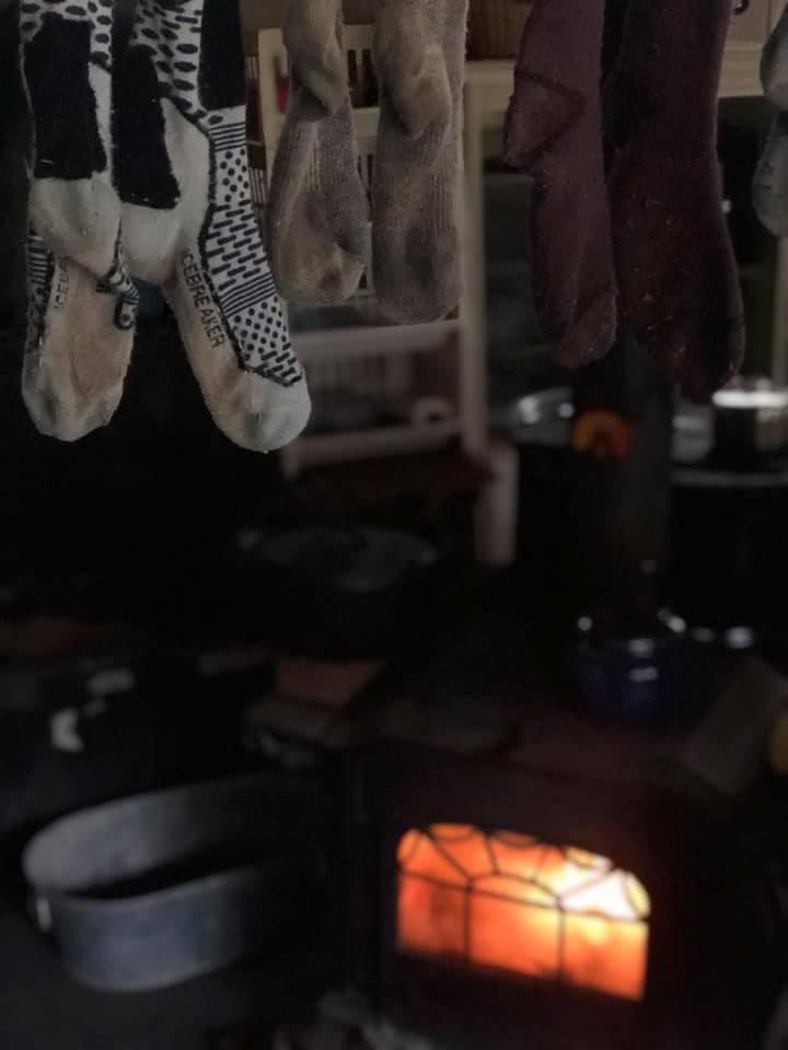Kim Waites hangs her socks to dry.