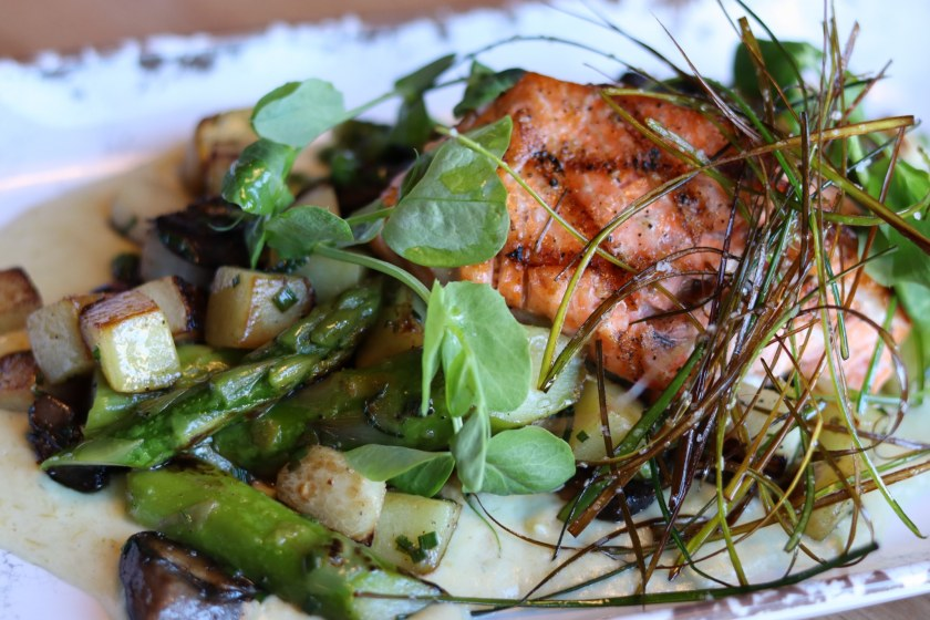 The salmon dish at Woolworth is one of the many healthy options on the Woolworth lunch menu. (Photo by Christine Hull for Bham Now)
