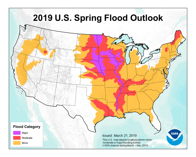 The National Weather Service is predicting flooding in the southeast in for spring 2019. (Graphic via NWS)
