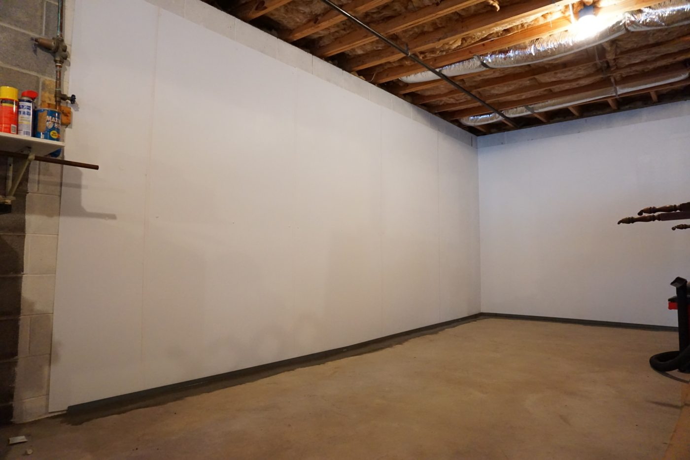 A waterproofed basement by AFS, A Bayless Company, the leading Foundation & Waterproofing Company in the Southeast.