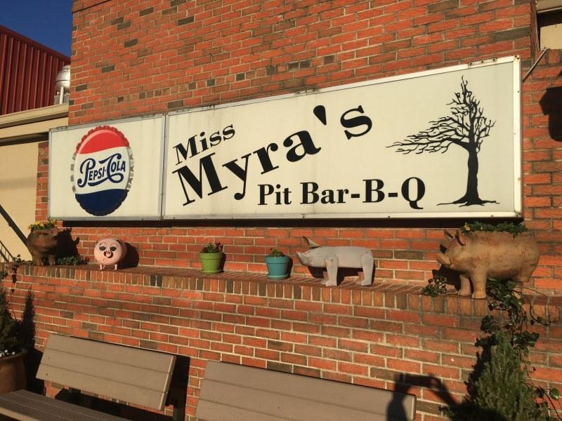 Miss Myra's BBQ is next door to the Cahaba community of Birmingham, in Cahaba Heights.